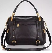 NEW~$495~REBECCA MINKOFF BLACK GOLD HARDWARE CUPID SATCHEL LEATHER HANDBAG REGAN