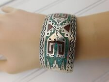 Vtg Sterling Silver Navajo Chip Inlay Turquoise Red Coral Cuff Bracelet signed