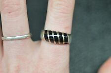 UNISEX .925 STERLING SILVER BLACK ONYX STRIPED RING SIZE 9