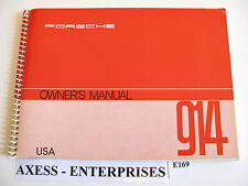 72 1972 Porsche 914 4 Cyl 1.7L Owners User Manual Operator Instruction Book E169