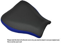 R BLUE LEATHER & CARBON VINYL CUSTOM FITS HONDA CBR 600 07-12 FRONT SEAT COVER