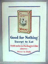 Cream of Wheat Breakfast Cereal PRINT AD - 1916 ~~ Good For Nothing