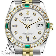 Ladies Rolex 26mm Datejust 2Tone WhiteColor Dial with 8+2 Emerald Diamond Accent
