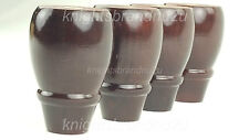 4x WOODEN BUN FEET WOODEN FURNITURE LEGS FOR SOFA, CHAIRS, STOOLS PRE DRILLED