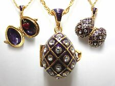 "Purple Traditional Easter Egg Pendant W/18"" Chain heart inside faberge inspired"