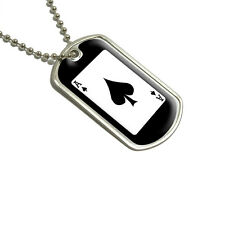 Playing Cards Ace of Spades - Poker - Military Dog Tag Keychain