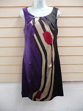 REDUCED LADIES MULTI COLOURED SATIN EFFECT SHIFT PARTY  DRESS SZ 10 BNWT