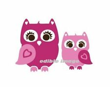 Cute Pink Owl Edible Cake Image Topper for 1.4 sheet cake