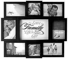 Hanging Wall Decor Family Picture Frame Collage Wood Home Black White Photo Add