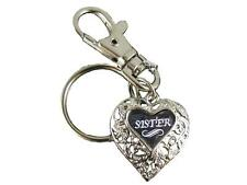 Sister Silver Filigree Heart Key Chain with Clip Jewelry Family Gift Grandmother