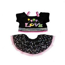 "Love sequinned sparkle Outfit teddy Clothes to fit 15"" build a bear plush teddy"