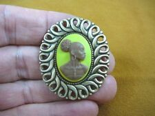 (CA10-11) RARE African American LADY brown + yellow CAMEO Pin Pendant JEWELRY