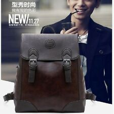 Men's Business Leather Vintage Laptop Backpack Rucksack School Travel Hiking Bag