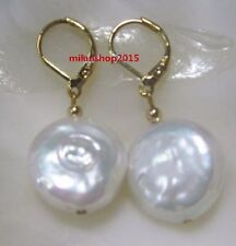 Baroque natural 18X18mm  south sea  Pearl Stud Earrings 14k GOLD