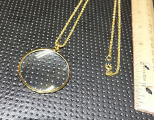gold toned bezel 4x glass magnifier pendant chain necklace costume jewelry