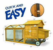 93'' Pet Farm House Wooden Chicken Coop Poultry Run Nest Box W/ Wheels Backyard