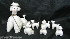 Vintage Spaghetti French Poodles Set Of 7 Dog Puppies Figurines Made In Japan
