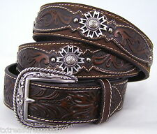 ARIAT belts men's casual western accessories BROWN LEATHER CONCHO BELT 40 NWT!