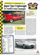 Jaguar Type E Lightweight  Formule 1  Great Britain UK Car Auto FICHE FRANCE