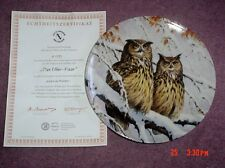 Superb Ottlinger Sevelen Collectors Plate DAS UHU PAAR - THE OWL PAIR
