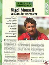 Nigel Mansell Pilote Formule 1 Ferrari Williams Renault Car Auto FICHE FRANCE