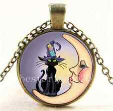 Wicca Cat And Moon Cabochon Glass Tibet Silver Chain Pendant  Necklace