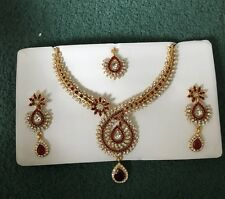Indian Bollywood Bridal Jewellery Necklace Earring Set Tikka Head Piece Red Gold