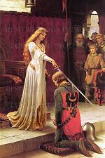 20x30 print Accolade by Edmund Leighton 1901, medieval knight chivalry queen art