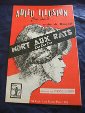 Partition Adieu Illusion Mort aux rats Verschueren 1962 Music Sheet
