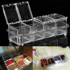 Set 4pcs Assaisonnement Boîte Acrylique Épice Conteneur Pot Cruet Condiment Sel