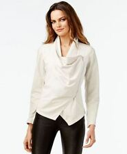 INC International Concepts Faux Leather Draped Crossover Jacket Dreamy Chalk  M