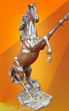 STUNNING REARING HORSE PURE BRONZE STATUE STALLION FIGURE ANIMAL SCULPTURE