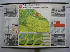 Schulwandkarte map Niedersachsen Land zwischen Weser und Elbe VW Karte 138x96