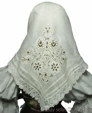 ANTIQUE Slovak Folk Costume metallic embroidered kerchief batiste shawl lace OLD