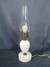 Lamp Hobnail Hurricane Table Desk Vintage White Milkglass Clear Chimney Works