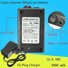 DC 12V Rubber Shell Rechargeable Protable Lithium-ion Battery+EU Plug AC Charger