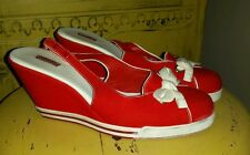 AUTH LACOSTE RED CANVAS WEDGE PLATFORM SHOES HEELS NAUTICAL 7 M SAILOR MANGA