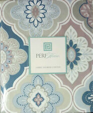 PERI GEO MEDALLION FLORAL BOHO FABRIC SHOWER CURTAIN BLUE GRAY PINK BATH DECOR
