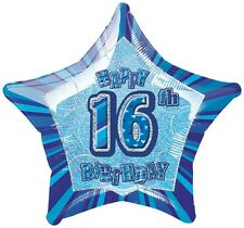 "20"" Happy 16th Birthday Blue Sparkle Star Foil Balloon"