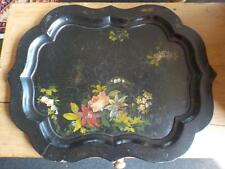 Antique Large  Papier Mache   Serving Tray 19th Century Decorated  Tray