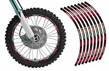 Dirt Bike Rim Protector Decal Kit for 19 and 21 inch Wheels Design #1921RED