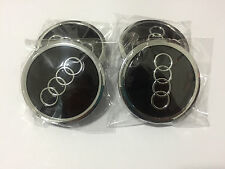 4PCS 69MM WHEEL CENTER HUB CAPS AUDI BLACK S3 S4 A3 A4 A6 A8 TT RS4 Q5 Q7