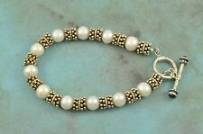"""Sterling Silver 925 14K Yellow Gold Pearl Toggle Style Bracelet 8"""""""