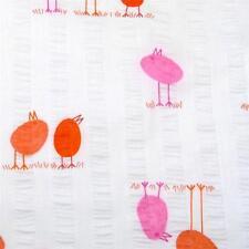 Cotton Fabric Seersucker Stripes Per ½ Yard, Little Birds Orange & Pink on White