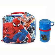 Marvel Spiderman Kids Boy School Insulated Lunch Bag + Tumbler Cup Container NEW