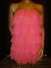 NWT Victoria's Secret COVER UP DRESS SKIRT RUFFLE NEON PINK cheetah lace S $69+