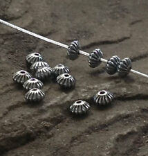 .925 STERLING SILVER 4.5mm x 3mm CORRUGATED OXIDIZED SAUCER BEADS #682230 - (10)