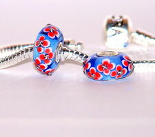 925 STERLING SILVER SINGLE CORE MURANO GLASS  BEAD/CHARM/BLUE WITH RED FLOWERS