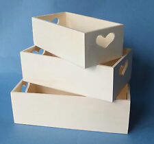 Set of 3 New Wooden Storage Gift box trays with heart shaped cut out decoration