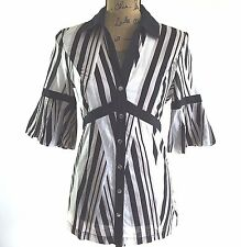 Karen Millen 8 US 12 UK white black tan stripe empire snap tunic shirt top work
